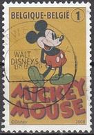Belgique 2008 COB 3784 O Cote (2016) 1.00 Euro 80 Ans De Mickey Mouse Cachet Rond - Belgien