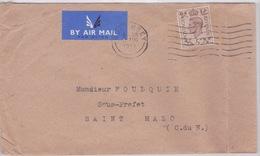 Grande Bretagne - CACHET GUERNESEY  - 1943 - AVEC FLAMME - TIMBRES POSTAGE REVENUE TO SOUS PREFET SAINT MALO - Guernsey