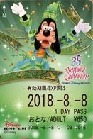 "Japan - Japanese Card DISNEY RESORT LINE.  Carte DISNEY RESORT LINE Du Japon.   ""Dingo  -  35 Ans Du Parc"". - Disney"