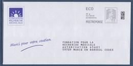 = Postréponse Marianne Et La Jeunesse Ciappa Kavena Ecopli Fondation Recherche Médicale Port Payé 182023 - Entiers Postaux