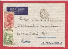 Y&T N°128+129  ABIOVILLE  Vers  FRANCE 1936 - Côte-d'Ivoire (1892-1944)