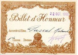 Billet D'honneur Octobre 1960 - Diplômes & Bulletins Scolaires