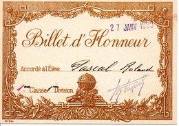 Billet D'honneur Janvier  1960 - Diplômes & Bulletins Scolaires