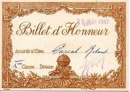 Billet D'honneur Mai 1961 - Diplômes & Bulletins Scolaires