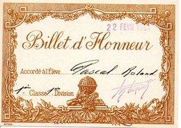 Billet D'honneur Février 1961 - Diplômes & Bulletins Scolaires