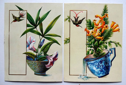 2 CARTES CHROMOS LITHOGRAPHIES.....RELIEF...15.5 /11 5 Cm.....FLEURS .......COLIBRI - Vieux Papiers