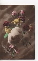 Cpa.voeux.Joyeuses Pâques.bouquet Roses Avec Oeuf Et Deux Poussins - Easter