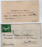 VP13.610 - MILITARIA - CDV - Carte De Visite - Mr A. De La SELVE Capitaine à TOULOUSE  Pour BATHURST ( Gambie ) - Cartes De Visite