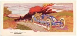 Cartonnage Lithographié E. Montaud 29: Circuit De La Seine Inférieure1907.  Szisz Sur Voiture Renault (reproduction) - Estampes & Gravures