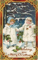 """""""Two Pretty Girls In Winter Coats"""" Tuck The Santa Claus  Of Christmas Ser.PC # 512 - Tuck, Raphael"""