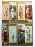 4 CARTES DOUBLE FACE CHROMOS LITHOGRAPHIES.....15 / 10 Cm   ...FEMMES ET FLEURS....TEXTE EN ANGLAIS - Vieux Papiers
