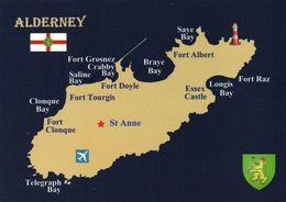 1 MAP Of Island Alderney Channel Islands * Ansichtskarte Mit Der Landkarte Der Insel Alderney Mit Flagge Und Wappen * - Cartes Géographiques