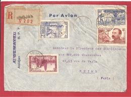 Y&T N°128+120+126   ABIDJAN Vers  FRANCE 1938  2 SCANS - Côte-d'Ivoire (1892-1944)