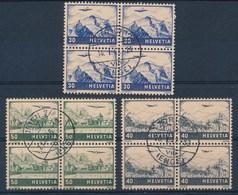 """HELVETIA - Mi Nr 387/389 - Viererblock - Cachet """"ZURICH 7 - ENGE"""" - (ref. 234) - Poste Aérienne"""