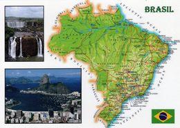 1 Map Of Brazil * 1 Ansichtskarte Mit Der Landkarte Von Brasilien * - Cartes Géographiques