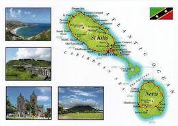 1 MAP Of St. Kitts And Nevis * 1 Ansichtskarte Mit Der Landkarte Von St. Kitts Und Nevis * - Cartes Géographiques