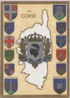 CPSM - LA CORSE - BLASONS Des Villes - Illustration - Edition Robert LOUIS HERALDISTE - Cartes Géographiques