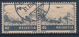 """HELVETIA - Mi Nr 388 (paar) - Cachet """"ZURICH - ENGE"""" - (ref. 239) - Airmail"""