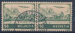 """HELVETIA - Mi Nr 389 (paar) - Cachet """"VAUD (ZURICH)"""" - (ref. 241) - Airmail"""