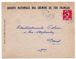 SOMME - Dépt N° 80 = MONTDIDIER A PARIS 1956 = Cachet  AMBULANT + SOCIETE NATIONALE DES CHEMINS DE FER  SNCF - Poststempel (Briefe)