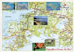 1 MAP Of Turkey * 1 Ansichtskarte Mit Der Landkarte Der Halbinsel Bozburun Im Südwesten Der Türkei - Provinz Muğla * - Cartes Géographiques