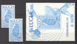 Sainte Lucie  -  Avion  :  Yv  1-1A +  Bloc 1  ** - St.Lucia (1979-...)