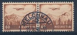 "HELVETIA - Mi Nr 390 (paar) - Cachet ""MELCHNAU"" - (ref. 243) - Poste Aérienne"