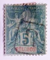 1892 Réunion  Yt 35, Mi 35 , Type Groupe 5c Vert  Oblitéré - Réunion (1852-1975)
