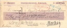 Wissel - Reçu - Imprimerie Chaix -  Banque Du Rhin à Aulnoye - 1925 - Lettres De Change