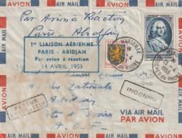 *** Lettre Premiere Liaison  *** Aérienne PARIS ABIDJAN  1953 - Aéreo