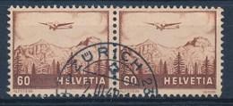 """HELVETIA - Mi Nr 390 (paar) - Cachet """"ZURICH 23"""" - (ref. 245) - Airmail"""
