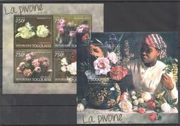 W660 2012 TOGO TOGOLAISE ART PAINTINGS FLORA FLOWERS LA PIVOINE DAN L'ART 1KB+1BL MNH - Arts