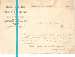 Factuur Facture - Brief Lettre - Brasserie De La Hutte - Dabgréau Frères - Quarouble Onnaing - 27 Mai 1900 - 1900 – 1949