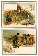 2  CARTES  CHROMOS LITHOGRAPHIES.....10 / 13.5 Cm   ..SCÈNES CHAMPÊTRES ALLEGORIQUES - Vieux Papiers