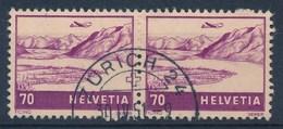 """HELVETIA - Mi Nr 391 (paar) - Cachet """"ZURICH 24"""" - (ref. 253) - Poste Aérienne"""