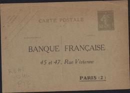 Entier CP Semeuse Camée 40c Bleu Verdâtre Pâle Effacé Storch R1c Date Peu Lisible 910? Repiquage Banque Française Paris - Entiers Postaux