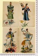 4  CHROMOS LITHOGRAPHIES CARTONNÉES.....12 / 8 Cm   ..COSTUMES JAPON...FLEURS - Vieux Papiers