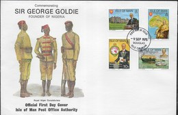 F.D.C. - SIR GEORGE GOLDIE - FONDATORE NIGERIA - 09.09.1975 SU BUSTA GRANDE 19X13 - Isola Di Man