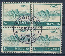 """HELVETIA - Mi Nr 392 - Viererblock - Cachet """"ZURICH 39 - SELNAU"""" - (ref. 258) - Poste Aérienne"""