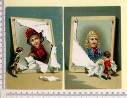 2 CARTES CHROMOS LITHOGRAPHIES....16 / 11 Cm   ..ENFANT...CADRE DEVOILLE  ! - Vieux Papiers
