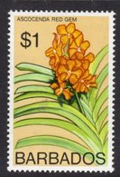 BARBADOS - 1976 $1 ORCHID STAMP WMK W12 S/W FINE MNH ** SG 551 - Barbados (1966-...)