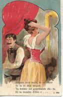 Carte 1904 / Humour / Femme Gourmande / Illustrateur E M N° F328 / Marcophilie Tampon Ambulant CHALINDREY à Is Sur Tille - Humour