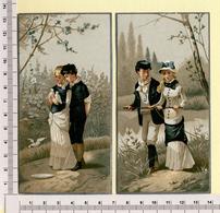2 CARTES CHROMOS LITHOGRAPHIES....13 / 7 Cm   ..COUPLE AMOUREUX...COLOMBE....CAMPAGNE - Vieux Papiers