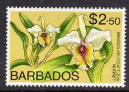 BARBADOS - 1974 $2.50 ORCHID STAMP WMK W12 S/W FINE MNH ** SG 498 - Barbades (1966-...)