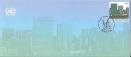 Onu, United Nations, Nations Unies,new York, Entier Postal 2001 , Env Fdc, Manhattan, 240x105, Colombe De La Paix - New-York - Siège De L'ONU