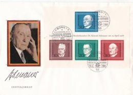 Germany FDC 1968 Adenauer Souvenir Sheet - Cover Bowed Right  (LAR8-27) - FDC: Buste