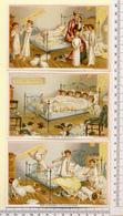 3 CARTES CHROMOS LITHOGRAPHIES....8.5 / 13 Cm   ..SCÈNES HUMOUR  CHAMBRE D'ENFANTS...VICTORIAN TRADE  CARD - Vieux Papiers