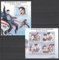 W676 2012 TOGO TOGOLAISE FAMOUS PEOPLE ELVIS PRESLEY 1KB+1BL MNH - Elvis Presley