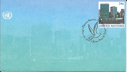 Onu, United Nations, Nations Unies,new York, Entier Postal 2001 , Env Fdc, Manhattan, Colombe De La Paix - New-York - Siège De L'ONU