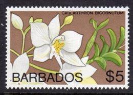 BARBADOS - 1974 $5 ORCHID STAMP WMK W12 S/W FINE MNH ** SG 498 - Barbados (1966-...)